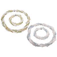 Natürliche kultivierte Süßwasserperlen Schmucksets, Armband & Halskette, mit Edelstein & Messing, silberfarben plattiert, verschiedenen Materialien für die Wahl & für Frau, 5x6mm, Länge:ca. 7.5 ZollInch, ca. 17.7 ZollInch, verkauft von setzen