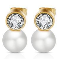 Edelstahl Ohrringe, mit Kunststoff Perlen, plattiert, für Frau & mit Strass, keine, verkauft von Paar