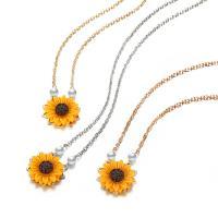 Zinklegierung Schmuck Halskette, mit Harz, mit Verlängerungskettchen von 0.78inch, Sonnenblume, plattiert, einstellbar & Oval-Kette & für Frau, keine, frei von Nickel, Blei & Kadmium, 25mm, verkauft per ca. 17.3 ZollInch Strang