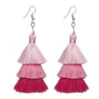 Zinklegierung Troddel Ohrring, mit Baumwollfaden, silberfarben plattiert, für Frau, keine, frei von Nickel, Blei & Kadmium, 35x100mm, verkauft von PC