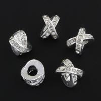 Zinklegierung Großes Loch Perlen, Buchstabe X, silberfarben plattiert, mit Strass, frei von Nickel, Blei & Kadmium, 9x11x11mm, Bohrung:ca. 4mm, verkauft von PC