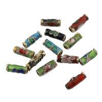 Messing Schmuckperlen, Zylinder, goldfarben plattiert, Emaille, gemischte Farben, frei von Nickel, Blei & Kadmium, 3x10mm, Bohrung:ca. 1mm, 100PCs/Tasche, verkauft von Tasche