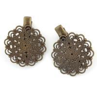 Haarklammer Zubehör, Eisen, Blume, antike Bronzefarbe plattiert, frei von Nickel, Blei & Kadmium, 31x35x10mm, 10PCs/Tasche, verkauft von Tasche