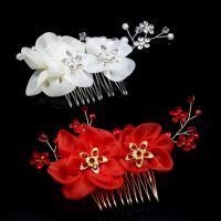 Braut Dekoratives Haarkämmchen, Zinklegierung, mit Stoff & Kristall & Kunststoff Perlen, Blume, plattiert, für Braut & mit Strass, keine, frei von Nickel, Blei & Kadmium, 120x70mm, verkauft von PC