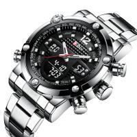 BIDEN® Uhrenkollektion, Edelstahl, mit Glas & Zinklegierung, silberfarben plattiert, für den Menschen & glänzend, 50mm, Länge:ca. 10.2 ZollInch, verkauft von PC