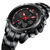 BIDEN® Uhrenkollektion, Edelstahl, mit Glas & Zinklegierung, schwärzen, für den Menschen & glänzend, keine, 46mm, Länge:ca. 10 ZollInch, verkauft von PC
