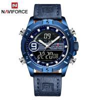 NAVIFORCE® Uhrenkollektion, Leder, mit Glas & Zinklegierung, plattiert, für den Menschen & glänzend, keine, 46mm, Länge:ca. 10.2 ZollInch, verkauft von PC
