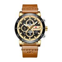 NAVIFORCE® Uhrenkollektion, Leder, mit Glas & Zinklegierung, plattiert, für den Menschen & glänzend, keine, 46mm, Länge:ca. 9.6 ZollInch, verkauft von PC
