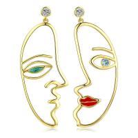 asymmetrische Ohrringe, Messing, vergoldet, Micro pave Zirkonia & für Frau & Emaille, frei von Nickel, Blei & Kadmium, 22x58mm, verkauft von Paar