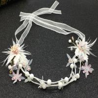 Stoff Schweißband, mit Kunststoff Perlen & Zinklegierung & Acryl, Blume, goldfarben plattiert, für Braut, frei von Nickel, Blei & Kadmium, 350mm, verkauft von PC