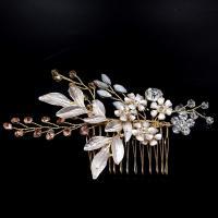 Braut Dekoratives Haarkämmchen, Zinklegierung, Blume, goldfarben plattiert, für Braut & Emaille & mit Strass, frei von Nickel, Blei & Kadmium, 110x70mm, verkauft von PC