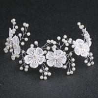 Braut Haar Blumen, Stoff, mit Kunststoff Perlen & Zinklegierung, silberfarben plattiert, für Braut & mit Strass, frei von Nickel, Blei & Kadmium, 360x50mm, verkauft von PC