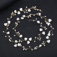 Braut Haar Blumen, Messing, mit Weiße Muschel & Kunststoff Perlen, plattiert, für Braut, keine, frei von Nickel, Blei & Kadmium, 1000mm, verkauft von PC