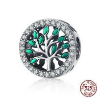 Bali Sterling Silber Perlen, Thailand, Baum des Lebens, Micro pave Zirkonia & ohne troll & Emaille, 12x12mm, Bohrung:ca. 4.5-5mm, verkauft von PC