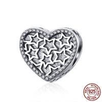 Bali Sterling Silber Perlen, Thailand, Herz, ohne troll, 11x10mm, Bohrung:ca. 4.5-5mm, verkauft von PC