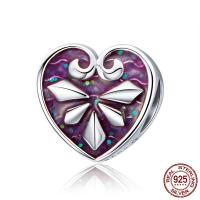 Thailand European Perlen, Herz, ohne troll & Emaille, 10x10mm, Bohrung:ca. 4.5-5mm, verkauft von PC