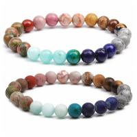 Edelstein Armbänder, mit elastischer Faden, rund, unisex & verschiedene Stile für Wahl, verkauft per ca. 7.1-7.8 ZollInch Strang