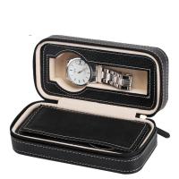 Uhr Schmuckkasten, PU Leder, mit Papier & Baumwollsamt, Rechteck, schwarz, 175x85x60mm, verkauft von PC