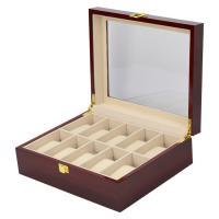 Uhr Schmuckkasten, Holz, mit MDF & Baumwollsamt, Rechteck, Einbrennlack, Multifunktions, rot, 260x210x90mm, verkauft von PC