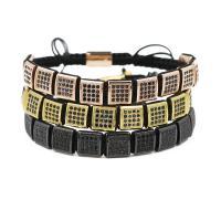 Messing Woven Ball Armbänder, mit Nylonschnur, Squaredelle, plattiert, unisex & einstellbar & Micro pave Zirkonia, keine, frei von Nickel, Blei & Kadmium, 10mm, verkauft per ca. 7.1-7.8 ZollInch Strang
