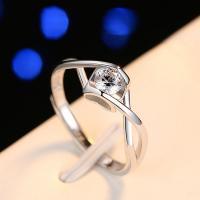 925er Sterling Silber Open -Finger-Ring, platiniert, für Frau & mit kubischem Zirkonia, Größe:7, verkauft von PC