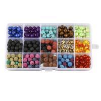 Mischedelstein Perlen, Edelstein, mit Zinklegierung, rund, DIY, 8mm, 172x100x22mm, 388PCs/Box, verkauft von Box
