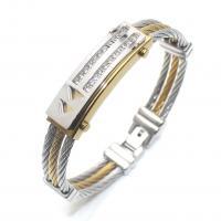 Titan Edelstahl Armband, Titanstahl, plattiert, unisex & mit Strass, verkauft per ca. 8 ZollInch Strang