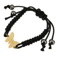 Edelstahl Woven Ball Armbänder, mit Nylonschnur, mit Verlängerungskettchen von 1lnch, Schmetterling, goldfarben plattiert, unisex & einstellbar, schwarz, 19x15mm, 7mm, verkauft per ca. 9 ZollInch Strang