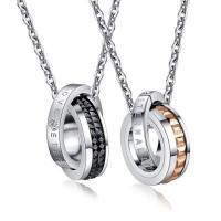 Titanstahl Ehepaar Halskette, plattiert, Oval-Kette & mit Brief Muster & mit Strass, Länge:ca. 21.6 ZollInch, 2SträngeStrang/setzen, verkauft von setzen