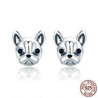 Sterling Silber Schmuck Ohrring, 925er Sterling Silber, Messing Stecker, Hund, silberfarben plattiert, für Frau & Emaille, 10x10mm, verkauft von Paar