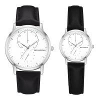 Ehepaar Uhrenarmbänder, Zinklegierung, mit PU Leder & Glas, plattiert, verschiedene Größen vorhanden & für paar, frei von Nickel, Blei & Kadmium, Länge:ca. 8 ZollInch, ca. 9 ZollInch, verkauft von PC
