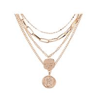 Zinklegierung Schmuck Halskette, goldfarben plattiert, mehrschichtig & Twist oval & für Frau, frei von Nickel, Blei & Kadmium, 26mm, 20mm, verkauft per ca. 17.51 ZollInch Strang