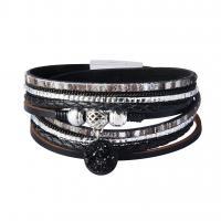 Rindsleder Armband, Kuhhaut, mit Eisquarz Achat & Zinklegierung, geflochten & unisex & mit Strass & Multi-Strang, keine, 17mm, verkauft per ca. 15.6 ZollInch Strang
