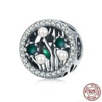 Bali Sterling Silber Perlen, Thailand, mit Muschelkern, Blume, Micro pave Zirkonia & ohne troll & Emaille, 12x12mm, Bohrung:ca. 4.5-5mm, verkauft von PC