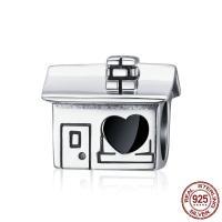 Bali Sterling Silber Perlen, Thailand, Haus, ohne troll & Emaille, 10x9mm, Bohrung:ca. 4.5-5mm, verkauft von PC