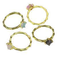Messing Fingerring, mit Eisquarz Achat, goldfarben plattiert, für Frau, frei von Nickel, Blei & Kadmium, 8.5mm, Größe:7, verkauft von PC
