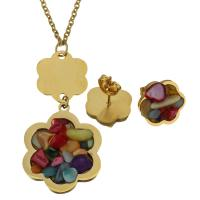 Edelstahl Schmucksets, Halskette, mit Edelstein, Blume, goldfarben plattiert, Oval-Kette & für Frau, 23x27mm, 2mm, 14x13mm, Länge:ca. 20 ZollInch, verkauft von setzen