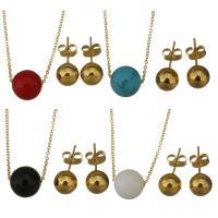 Edelstahl Schmucksets, Halskette, mit Edelstein, rund, goldfarben plattiert, verschiedenen Materialien für die Wahl & Oval-Kette & für Frau, 10mm, 1.2mm, 8mm, Länge:ca. 18 ZollInch, verkauft von setzen