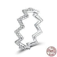 Zirkonia Micro Pave Sterling Silber Ringe, 925er Sterling Silber, platiniert, verschiedene Größen vorhanden & Micro pave Zirkonia, 5mm, Größe:6-8, verkauft von PC
