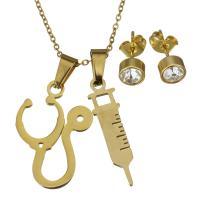Edelstahl Schmucksets, Halskette, goldfarben plattiert, Oval-Kette & für Frau & mit Strass, 18x25mm,7x27mm,1.2mm,6mm, Länge:ca. 15 ZollInch, verkauft von setzen