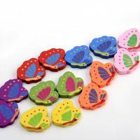 Holzperlen, Holz, Schmetterling, Einbrennlack, 20x24mm, Bohrung:ca. 1mm, 10PCs/Tasche, verkauft von Tasche
