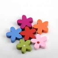 Holzperlen, Holz, Blume, Einbrennlack, 15x15mm, Bohrung:ca. 1mm, verkauft von Tasche