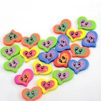 Holzperlen, Holz, flacher Herz, Einbrennlack, 15x15mm, Bohrung:ca. 1mm, 100PCs/Tasche, verkauft von Tasche