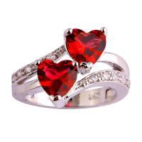 Zinklegierung Fingerring , Herz, Platinfarbe platiniert, verschiedene Größen vorhanden & Micro pave Zirkonia & für Frau, keine, frei von Nickel, Blei & Kadmium, verkauft von PC