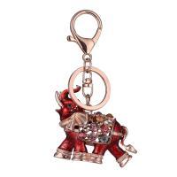 Zinklegierung Schlüsselanhänger, Elephant, plattiert, unisex & Emaille & mit Strass, keine, frei von Nickel, Blei & Kadmium, 110mm, verkauft von PC