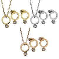 Edelstahl Schmucksets, Halskette, mit Verlängerungskettchen von 2Inch, Kreisring, plattiert, Oval-Kette & für Frau & mit Strass, keine, 9.5x14mm,1.5mm,9.5x13.5mm, Länge:ca. 16 ZollInch, verkauft von setzen