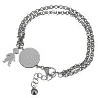 Edelstahl Schmuck Armband, mit Verlängerungskettchen von 1.5Inch, Rolo Kette & für den Menschen, originale Farbe, 8x17mm,21x16mm,3mm, verkauft per ca. 7 ZollInch Strang