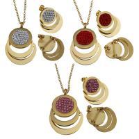 Edelstahl Schmucksets, Ohrring & Halskette, mit Ton, goldfarben plattiert, Oval-Kette & für Frau, keine, 27x38mm,2mm,21x25mm, Länge:ca. 17 ZollInch, verkauft von setzen