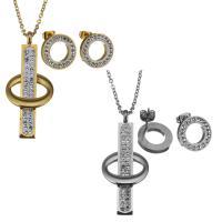 Edelstahl Schmucksets, Halskette, mit Ton, plattiert, Oval-Kette & für Frau, keine, 20x46mm,2mm,14mm, Länge:ca. 17 ZollInch, verkauft von setzen