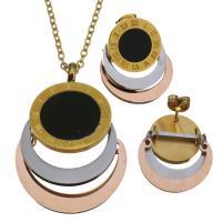 Edelstahl Schmucksets, Ohrring & Halskette, goldfarben plattiert, Oval-Kette & für Frau, 27x38mm,2mm,24x24mm, Länge:ca. 18 ZollInch, verkauft von setzen